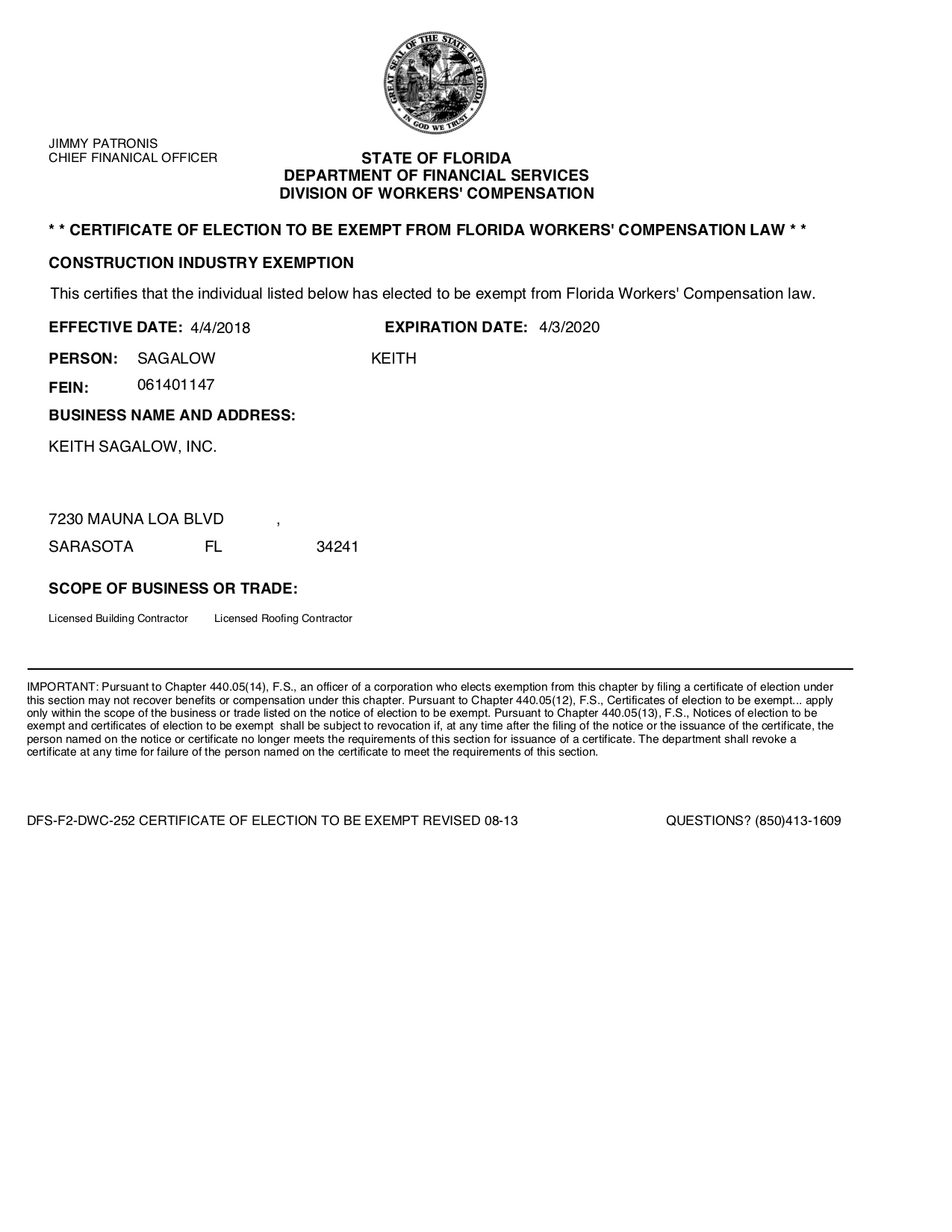 worker comp exemption